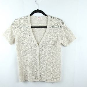 Vintage Lace Crochet Button Front Top V Neck S XS